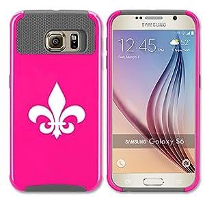 Samsung Galaxy S6 Shockproof Impact Hard Case Cover Fleur-De-Lis (Hot Pink-Grey)