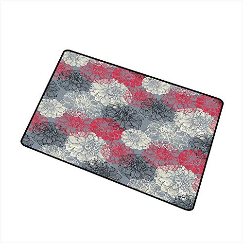 (Jbgzzm Pet Door mat Dahlia Flower Decor Hand Drawn Repeating Big and Small Flowers Motif with Color Element Effects W35 xL59 Quick and Easy to Clean Multi)