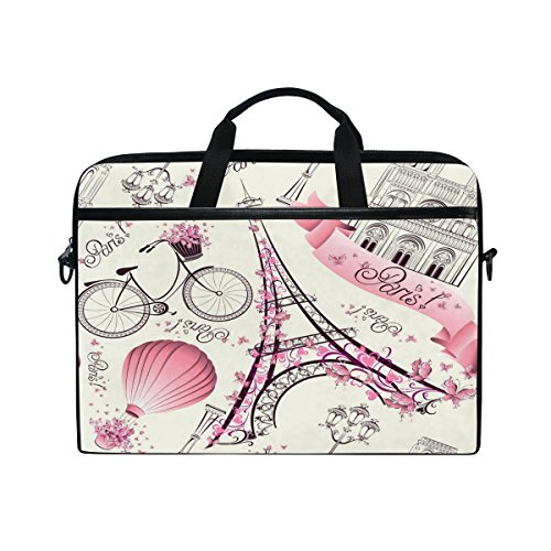 ALAZA Pink Floral Paris Eiffel Tower White 15 inch Laptop Shoulder Messenger Bag Case Sleeve Briefcase with Shoulder Strap Handle for Women Men Girls Boys, Valentine