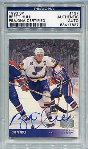 Upper Deck Certified Autograph Card - Brett Hull St. Louis Blues PSA/DNA Certified Authentic Autograph - 1993 Upper Deck SP (Autographed Hockey Cards)