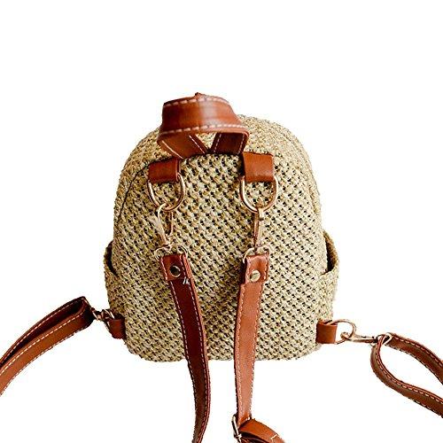 Zaino pelle borsa la nero con in Brown cinghie Beach mini tracolla a fashion con Weave per borsa Hollow scuola cannuccia rfwq1ArC