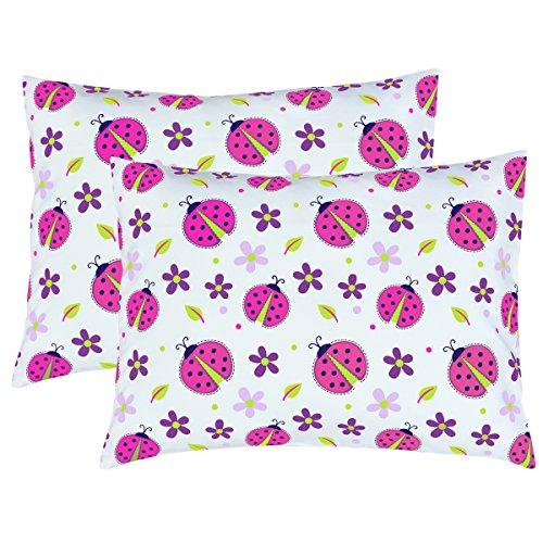 Mellanni Toddler Pillowcase Set Ladybugs - Pack of 2 Toddler Size 14