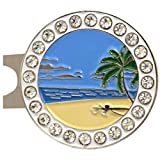 #9: Giggle Golf Bling Beach Scene Golf Ball Marker With A Standard Hat Clip