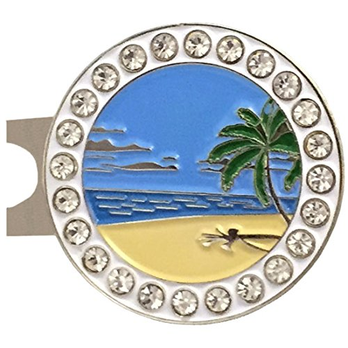 Hawaiian Golf Ball - Giggle Golf Bling Beach Scene Golf Ball Marker with A Standard Hat Clip
