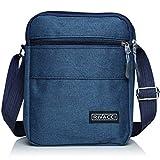 Rivacci Men Shoulder Bag Crossbody Travel Messenger Bags Small Retro Canvas Satchel Zipped Unisex Lightweight Long Strap for Phone iPad Mini Kindle Casual Business Cross Body Ladies Zips - Blue