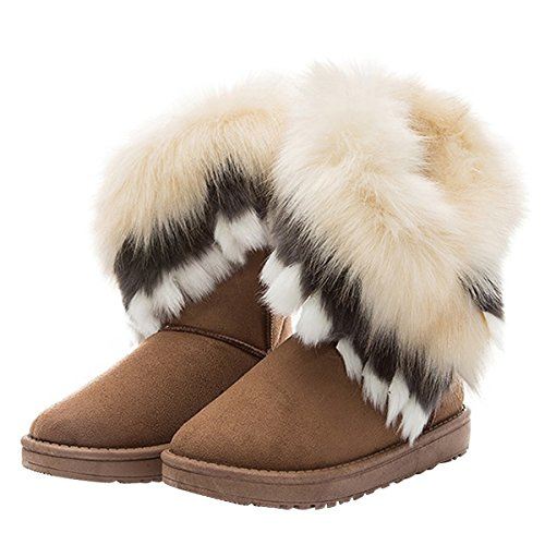 VFDB Women Mid Calf Boot Suede Faux Fur Tassel Outdoor Winter Snow Suede Flat Shoes US 7.5