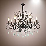 LightInTheBox LightInTheBox 8 Head Of European Style Crystal Lamp Metal Candle Chandelier Lighting Bedroom Pendent Light Hotel Restaurant Lighting Fixture Black