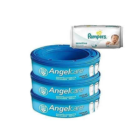 Angelcare caja para penales y recambios Pack 3 + 56 Pampers toallitas húmedas