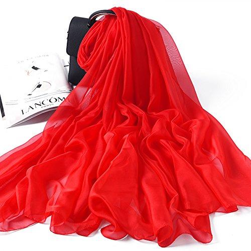 A rouge  LLZWJ ChÂle Crème Solaire Décoration Cadeau Foulard en Soie écharpe en Soie Joker Gradient ChÂle Grande Taille écharpe écharpe ChÂle