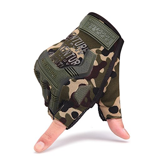 HENWS Military Fingerless Tactical Gloves Half-Finger Safety Exercise Gloves for Sporting / Driving / Shooting / Riding / Climbing / Camping / Motorcycle