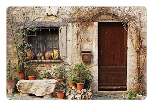 Lunarable Shutters Pet Mat for Food and Water, Flowerpot Plants Front Yard French Hilltop Village Saint-Paul De Vence Heritage, Rectangle Non-Slip Rubber Mat for Dogs and Cats, Beige Green