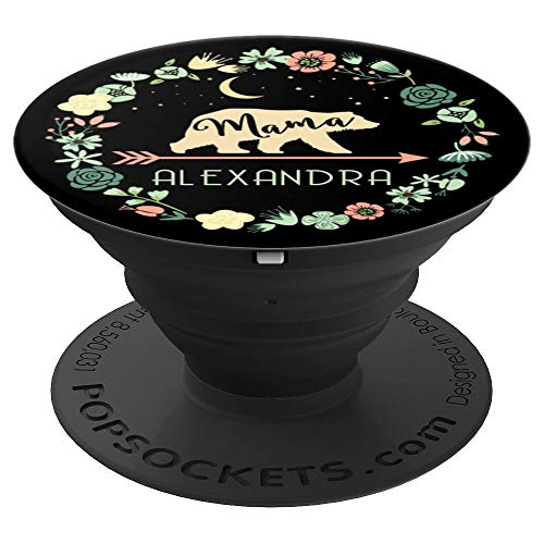 (Alexandra Name Phone Grip Floral Mama Bear Gift For Mom - PopSockets Grip and Stand for Phones and Tablets)