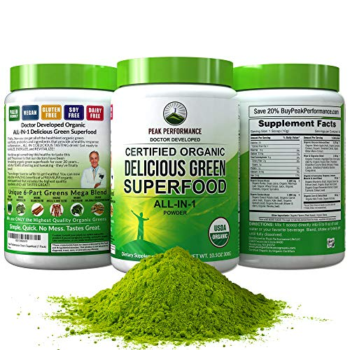 (Peak Performance Organic Greens Superfood Powder. Best Tasting Organic Green Juice Super Food with 25+ All Natural Ingredients for Max Energy & Detox. Spirulina, Spinach, Kale, Turmeric Probiotics)