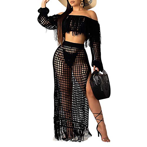Women's See Through Hollow Out Coverup Two Piece Outfits Crop Top Maxi Skirt Set Black M
