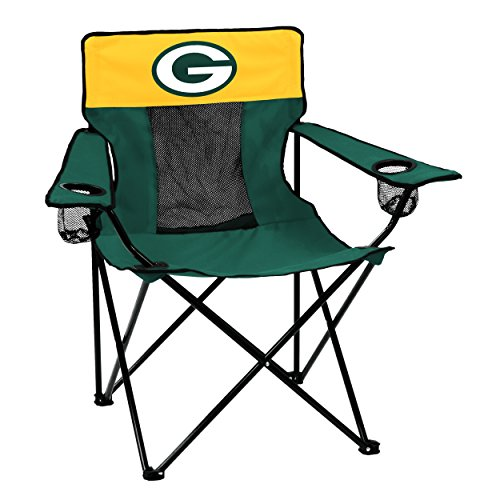 Logo Brands NFL Green Bay Packers  Folding Elite Chair with Mesh Back and Carry Bag ,  Hunter,  One Size