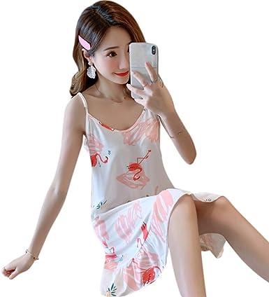 Anjuley - Camisa de Noche para Mujer y niña, diseño de Flamenco, piña, Estampado con Volantes, Ropa de Noche con máscara para los Ojos f XL: Amazon.es: Ropa y accesorios