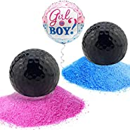 MOMENTO MILESTONE MOMENTS Gender Reveal Golf Balls Exploding Pack of Pink and Blue Balls Filled with Powder - Includes a Golf Tee and Girl or Boy Foil Balloon for Baby Sex Reveal Parties