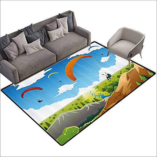 Multi Use Parachute - Multi-USE Floor MAT Cartoon,Parachute Landscape Mountain River Clouds Palm Trees Kids Nursery Image Landscape,Multicolor 64