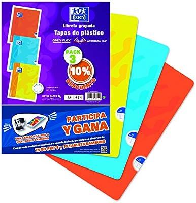 Oxford - Pack 3 libretas, 90 g, plástico, 48 hojas, A4 (400060065 ...