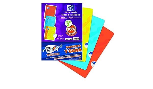 Oxford - Pack 3 libretas, 90 g, plástico, 48 hojas, A4 (400060065): Amazon.es: Oficina y papelería
