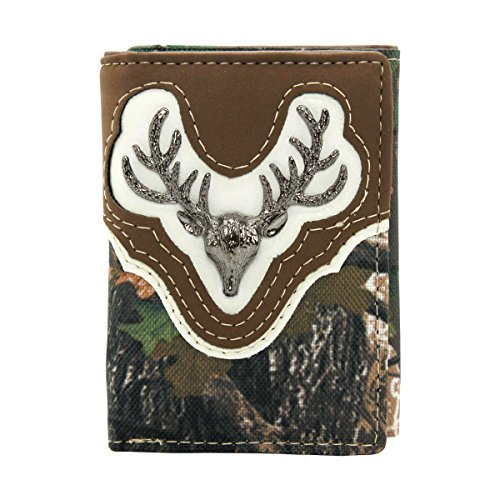 Trifold Wallet Western Camo Mossy Deer Hunting (Brown)