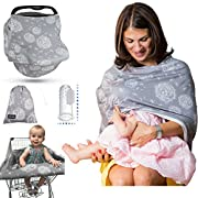 Premium Multi Use Nursing Breastfeeding Cover Gray and Carseat Canopy Cover   Gift Set Pack & Silicone Finger Toothbrush + Pouch + eBook - 4 in 1 Baby Car Seat Cover ( Winter Grey )