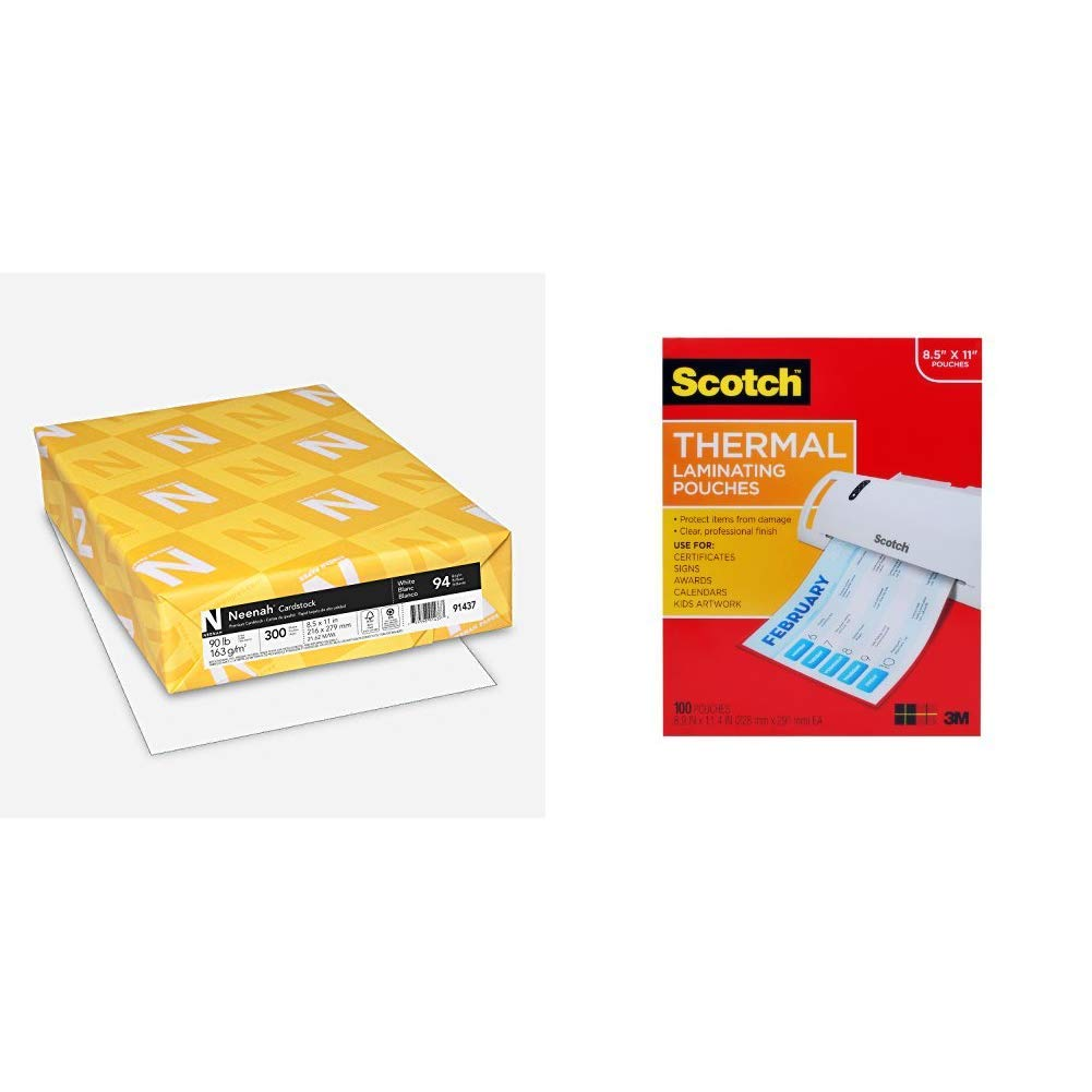Neenah Cardstock, 8.5'' x 11'', Heavy-Weight, White, 94 Brightness, 300 Sheets (91437) & Scotch Thermal Laminating Pouches, 8.9 x 11.4 -Inches, 3 mil thick, 100-Pack (TP3854-100)