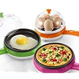 Quark Mart Multifunctional 2 in 1 Electric Egg Boiling Steamer Egg Frying Pan Egg Boiler Electric Automatic Off with Egg Boiler Machine Non-Stick Electric Egg Frying Pan (Multi)