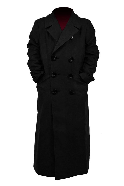 Star Flower Children Boys Brown Long Trench Coat (Black, 8)