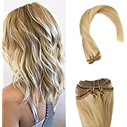 Sunny Brazilian Straight Remy Hair Weave 100gram/Bundle Mix Color Dark Ash Blonde with Golden Blonde 100% Human Hair Weft 16inches