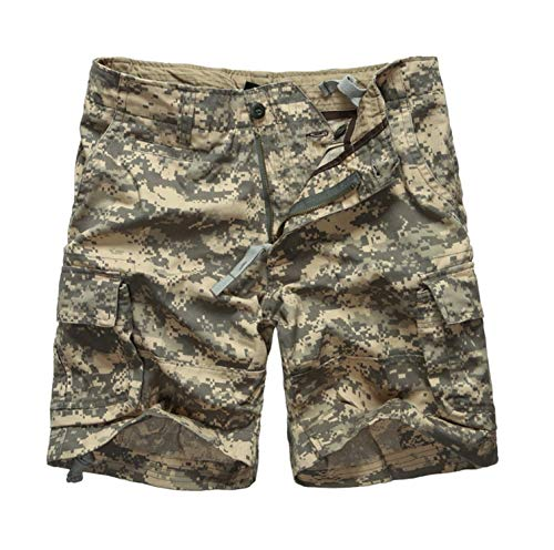 Mens Army Military Camouflage Cargo Shorts Casual Work Multi-Pockets Shorts,ACU Digital Camo,34