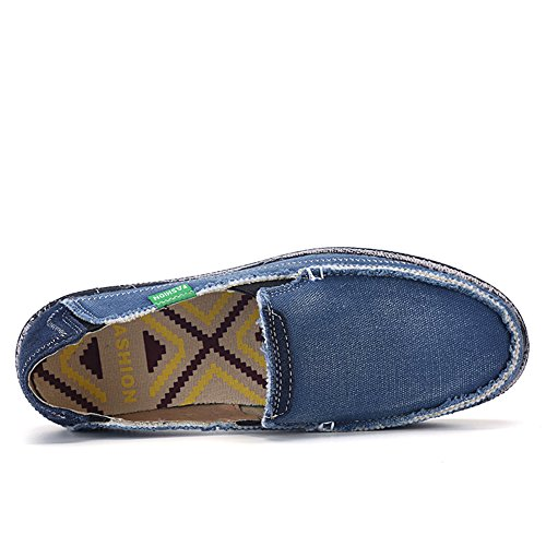 L-RUN Men's Cloth Shoes Slip-on Canvas Loafers Outdoor Leisure Walking