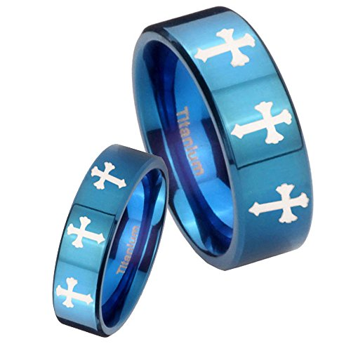 Etch Band - His and Hers 2 pcs Titanium 8 Christian Cross Etch Blue IP Pipe Cut Wedding Ring Set Size 6, 10