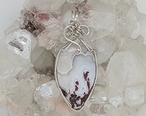 Cranberry Plume Agate Pendant (2-3/8 X 1 Inches) Wrapped With Sterling Silver Wire (Natural Stone Pendant) (White Red) (Wire Wrap)