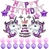 Purple Unicorn Birthday Party Supplies, Happy Birthday Decoration Set With Birthday Cake Five & Four-Pointed Star Foil Balloon Pink And Purple Latex Balloons, Full Birthday Set 39PCS For Unicorn Birth