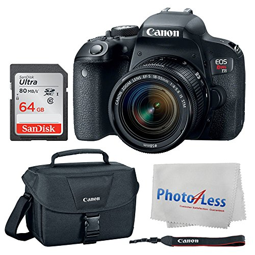 Canon EOS Rebel T7i Digital SLR Camera + Canon EF-S 18-55mm f/4-5.6 IS STM Lens + Canon EOS Shoulder Bag 100ES (Black) + SanDisk Ultra SDXC 64GB 80MB/S Class 10 Flash Memory Card + Deluxe Canon Bundle