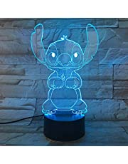 Cartoon Stitch 3D Lamp Slaapkamer Tafel Nachtlampje Acryl Panel Usb Kabel 7 Kleuren Veranderen Touch Base Lamp Kids Gift
