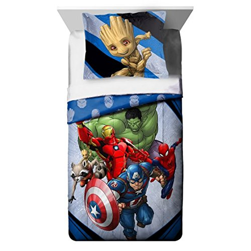 Marvel's Avengers (2018) 7pc Night Light, Full Comforter and Sheet Set Bedding Collection with Spiderman, Hulk, Iron Man, Captain America and more by Avengers