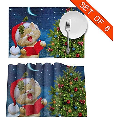 Cute Cat Sing Christmas Carols Placemats Set de 6 para mesa de comedor Mantel individual lavable Manteles antideslizantes para cocina,12X1