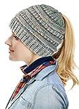 Winter Women Warm BeanieTail Womens Ponytail Messy Bun Beanie Solid Ribbed Hat,B-ponytail Style Grey