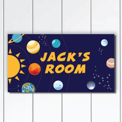Personalized Solar System Door Sign Plaque for Boys Bedroom, Custom Baby Shower Gift