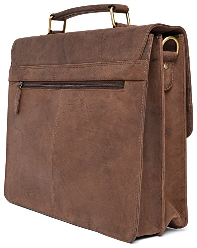 LEABAGS Miramar Briefcase of Genuine Buffalo Leather in Vintage Look - Muskat by LEABAGS (Image #3)