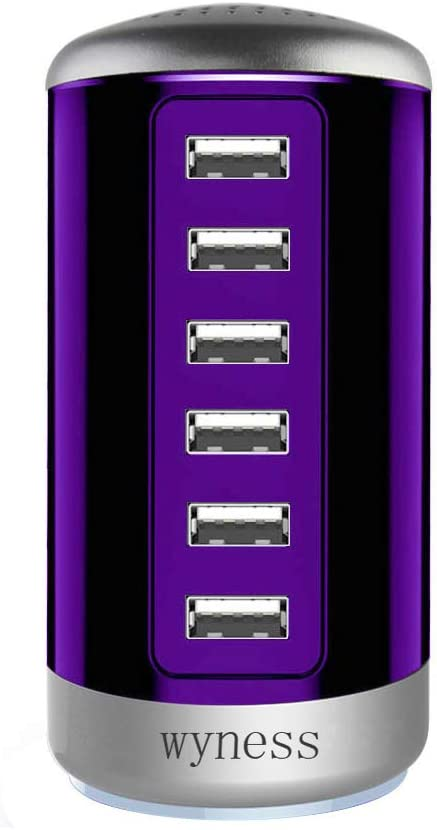 Image of a charging station with 6 hubs, in violet color.