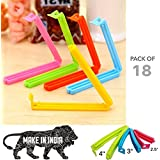 gade 18 Pieces Plastic Camping Snack Sealing Bag Clips, 3 Different Sizes (Multicolour)