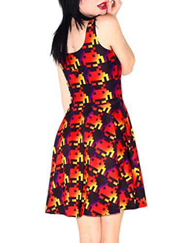 Jumper Fit YW Printed CLb1109 Neck Shirt Trendy Mini Slim Crew Sundress Sleeveless Red qYWpSX