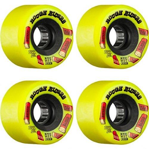 クーポンビバ屋内でBones Wheels ATF Rough Rider Shotgunイエロースケートボードホイール – 56 mm 80 a ( Set of 4 )