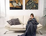 Napa Deluxe Fleece Blanket with Sleeves and Pockets Grey, Lounging Super Soft Microplush Adult Wearable Throw Robe for Women and Men