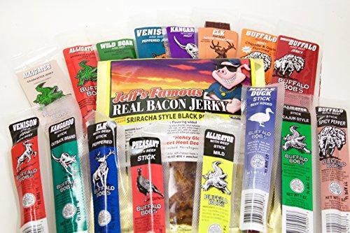 Exotic Jerky - 17 Piece Buffalo Bob's Exotic Jerky Gift Assortment with Jeff's Famous Shiracha Bacon Jerky