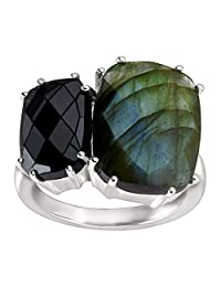 Silpada 'Ebony' Hematite, Labradorite, and Sterling Silver Ring