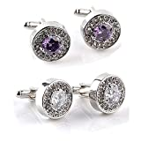 AOASK Stainless Steel Crystal Round Classic Cufflinks for Men Wedding Business (1 Pair of Purple and 1 Pair of White)